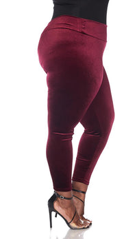 Plus Size High Waisted Velvet Leggings in Burgundy - SohoGirl.com