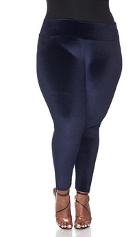 Plus Size High Waisted Velvet Leggings - Navy Blue
