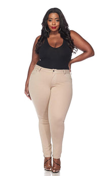 Plus Size Classic Stretch Knit Skinny School Pants in Khaki - SohoGirl.com