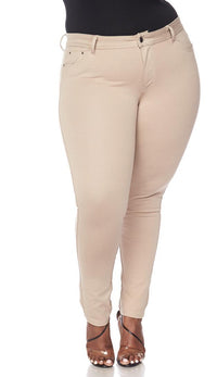 Plus Size Classic Stretch Knit Skinny School Pants in Khaki