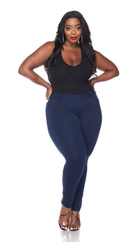 Plus Size Classic Stretch Knit Skinny Pants in Navy - SohoGirl.com