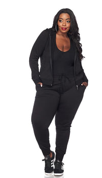 Plus Size Classic Zip Up Hoodie and Jogger Set