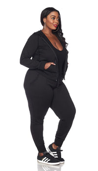 Plus Size Classic Zip Up Hoodie and Jogger Set - SohoGirl.com