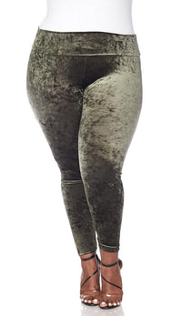 Plus Size Olive Crushed Velvet High Waisted Leggings - SohoGirl.com