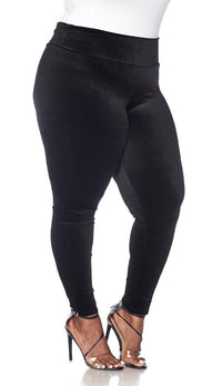 Plus Size High Waisted Velvet Leggings - Black - SohoGirl.com