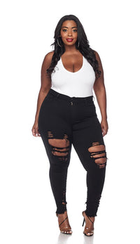 Plus Size Distressed Ankle High Waisted Skinny Jeans - Black - SohoGirl.com
