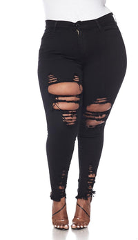 Plus Size Distressed Ankle High Waisted Skinny Jeans - Black