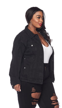 Plus Size Classic Denim Jacket - Black - SohoGirl.com