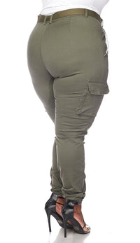 Plus Size Belted Cargo Jogger Pants in Olive - SohoGirl.com