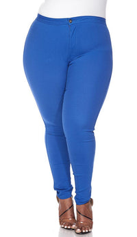 Plus Size Super High Waisted Stretchy Skinny Jeans - Royal Blue - SohoGirl.com