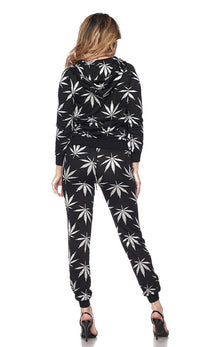 Hoodie and Joggers Weed Print Set - Black - SohoGirl.com