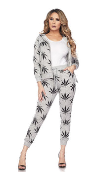 Hoodie and Joggers Weed Print Set - Gray