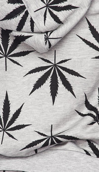 Hoodie and Joggers Weed Print Set - Gray - SohoGirl.com