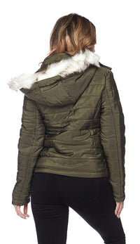 Hooded Fur Lined Puffer Bubble Jacket - Olive