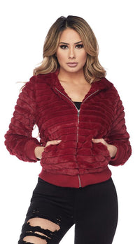Ribbed Faux Fur Hooded Jacket - Burgundy - SohoGirl.com