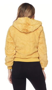 Plush Faux Fur Ultra Soft Hooded Jacket - Mustard - SohoGirl.com