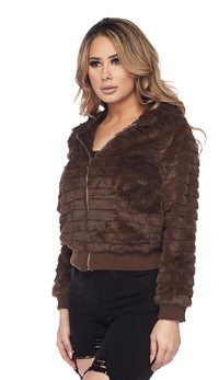 Ribbed Faux Fur Hooded Jacket - Brown - SohoGirl.com