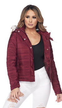 Hooded Fur Lined Puffer Bubble Jacket - Burgundy - SohoGirl.com