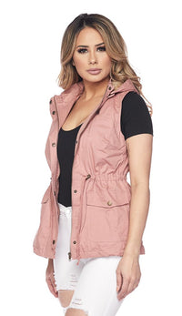 Faux Fur Lined Utility Drawstring Vest - Blush