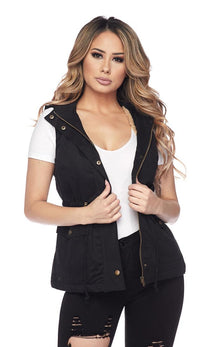 Faux Fur Lined Utility Drawstring Vest - Black
