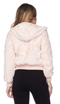 Plush Faux Fur Ultra Soft Hooded Jacket - Blush (S-XXXL)