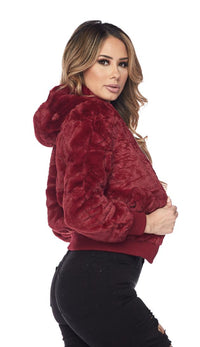 Plush Faux Fur Ultra Soft Hooded Jacket - Burgundy (S-XXXL)
