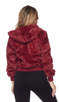 Plush Faux Fur Ultra Soft Hooded Jacket - Burgundy (S-XXXL) - SohoGirl.com