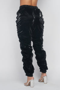 Metallic Reflective Pants Hip Hope Harem Joggers - Black