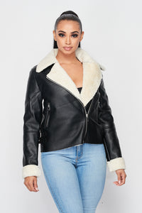 Sherpa Lined Faux Leather Jacket - Black