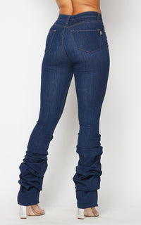 Vibrant Distressed Scrunch Up Bootcut Jeans - Dark Denim