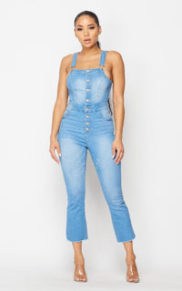 Button Up Long Overalls in Light Blue