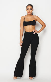 Bell Bottom High Waisted Stretchy Jeans - Black
