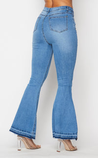 Classic High Rise Flare Denim Jeans - Light Denim