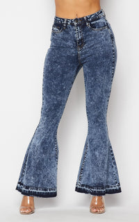 Classic High Rise Flare Denim Jeans in Acid Wash - SohoGirl.com
