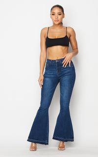 Classic High Rise Flare Denim Jeans - Dark Denim - SohoGirl.com