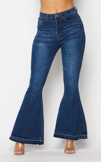 Classic High Rise Flare Denim Jeans - Dark Denim