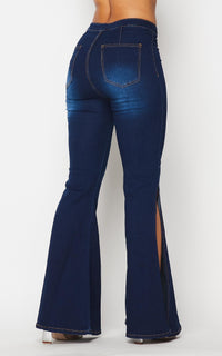 Side Slit Bell Bottom Denim Jeans - Dark Denim - SohoGirl.com