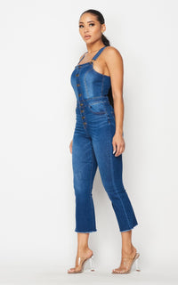 Button Up Long Overalls in Medium Denim