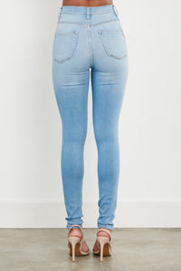 High Waisted Distressed Knee Skinny Jeans - Light Denim - SohoGirl.com