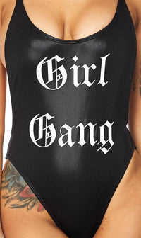 Girl Gang Low Cut Swimsuit in Black - SohoGirl.com