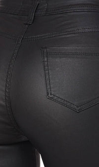 Super High Waisted Faux Leather Stretchy Skinny Jeans - Black - SohoGirl.com