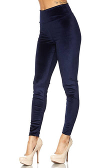 High Waisted Velvet Leggings in Navy Blue (Plus Sizes Available)