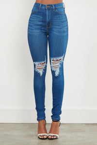 High Waisted Distressed Knee Skinny Jeans - Medium Denim - SohoGirl.com
