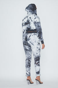 2 Pc. Rhinestone Jogger Set With Hoodie Crop Top - White Tye Dye