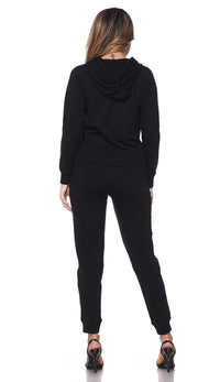 Pouch Pocket Pullover Hoodie and Jogger Set - Black