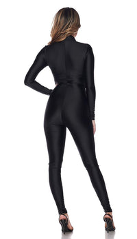 Nylon Spandex Zip-Up Long Sleeve Jumpsuit - Black