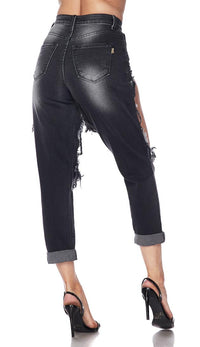 Cut Out High Waisted Mom Jeans - Black - SohoGirl.com