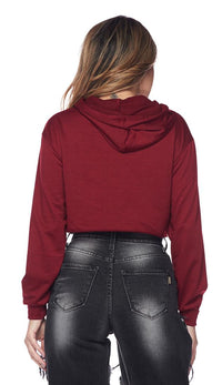 Pullover Cropped Hooded Sweatshirt - Burgundy