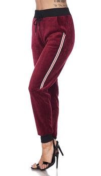 Velour Side Stripe Drawstring Track Pants - Burgundy