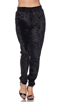 Crushed Velvet Drawstring Jogger Pants - Black (S-XXXL)